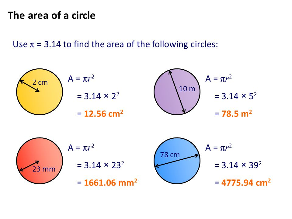 The area of a circle Use π = 3.14 to find the area of the following circles: 2 cm. 10 m. A = πr2.