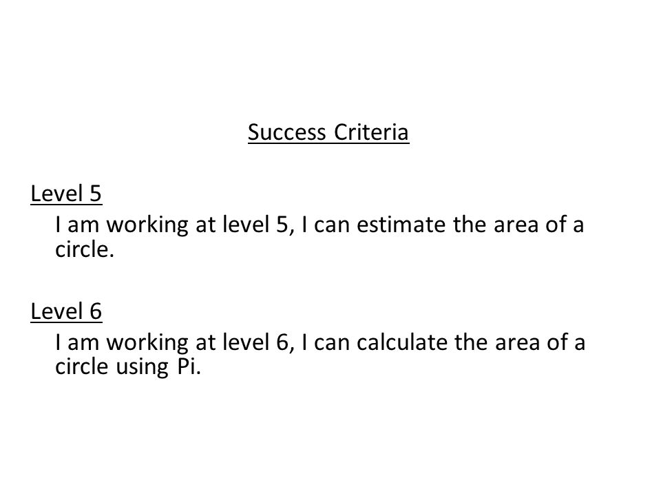 Success Criteria Level 5. I am working at level 5, I can estimate the area of a circle. Level 6.
