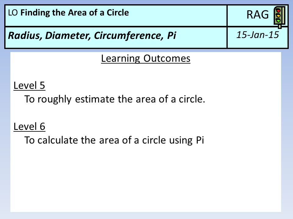 RAG Radius, Diameter, Circumference, Pi Learning Outcomes Level 5