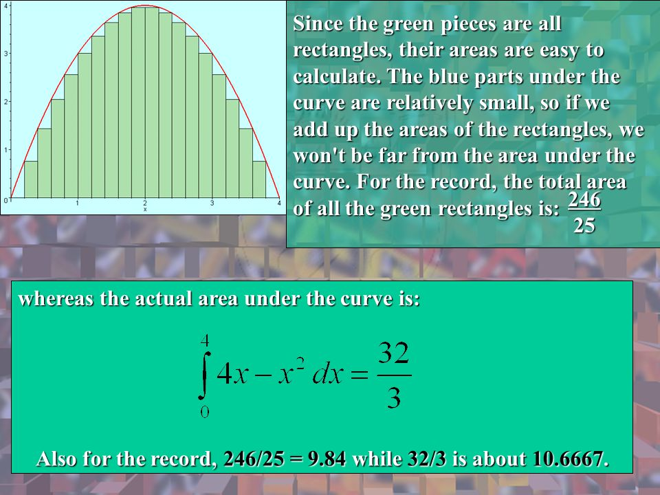 Since the green pieces are all rectangles, their areas are easy to calculate. The blue parts under the curve are relatively small, so if we add up the areas of the rectangles, we won t be far from the area under the curve. For the record, the total area of all the green rectangles is: