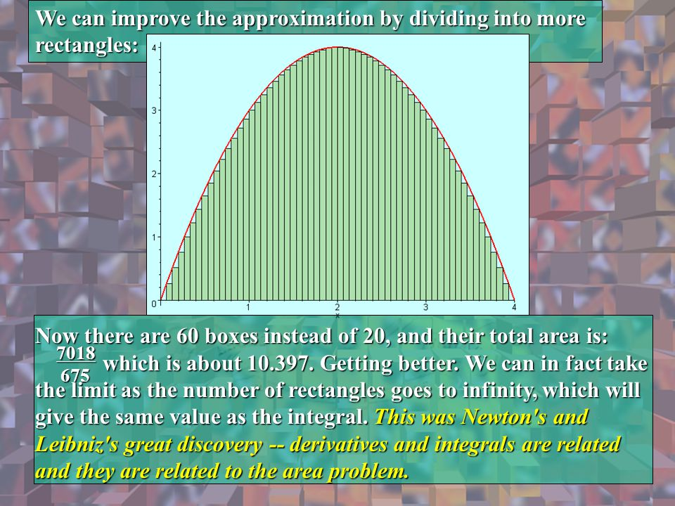 We can improve the approximation by dividing into more rectangles: