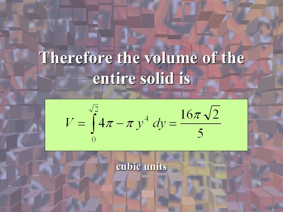 Therefore the volume of the entire solid is