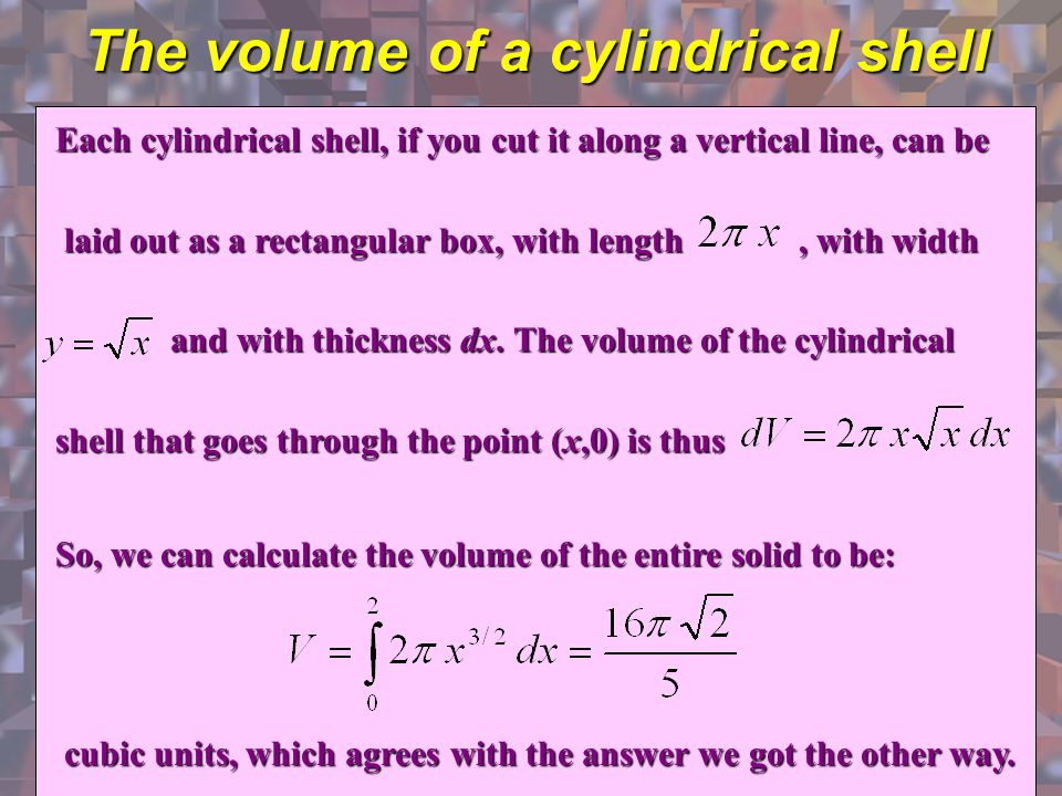 The volume of a cylindrical shell