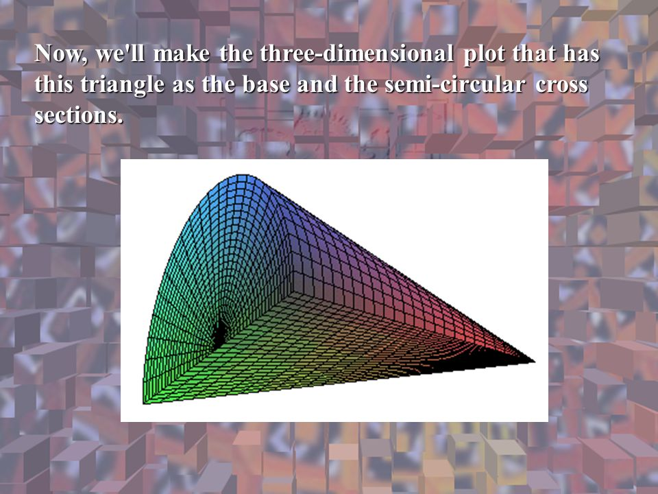 Now, we ll make the three-dimensional plot that has this triangle as the base and the semi-circular cross sections.