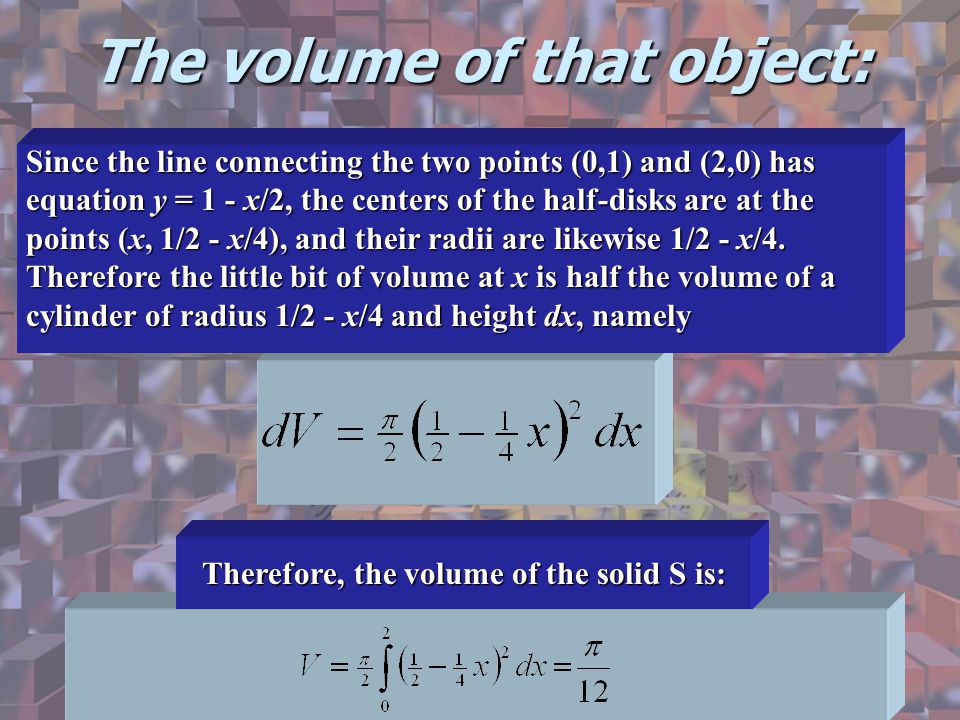 The volume of that object: