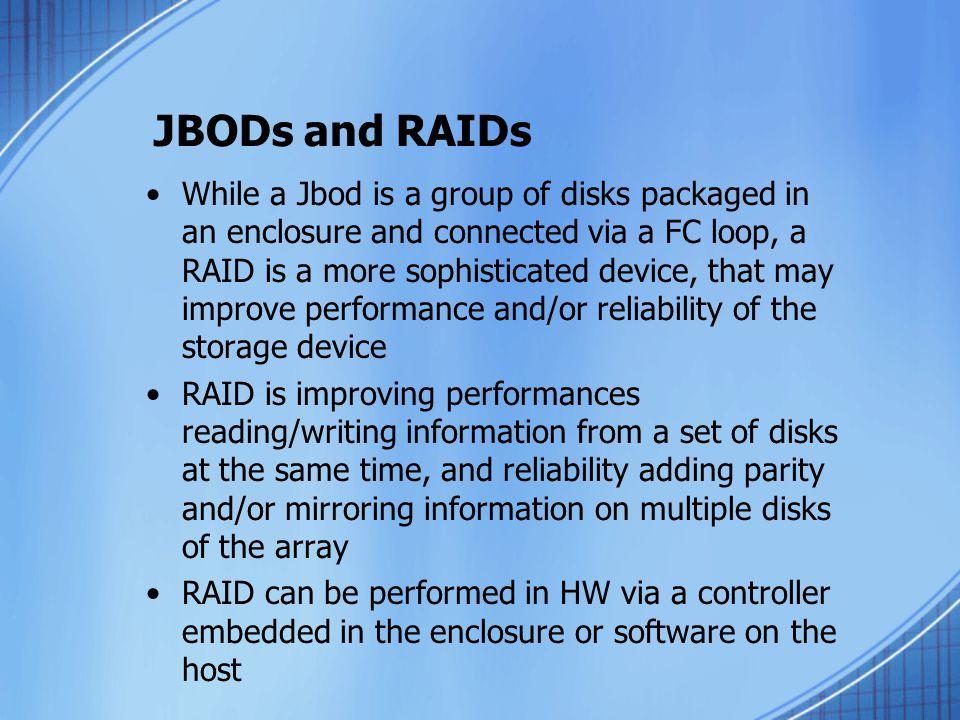 JBODs and RAIDs