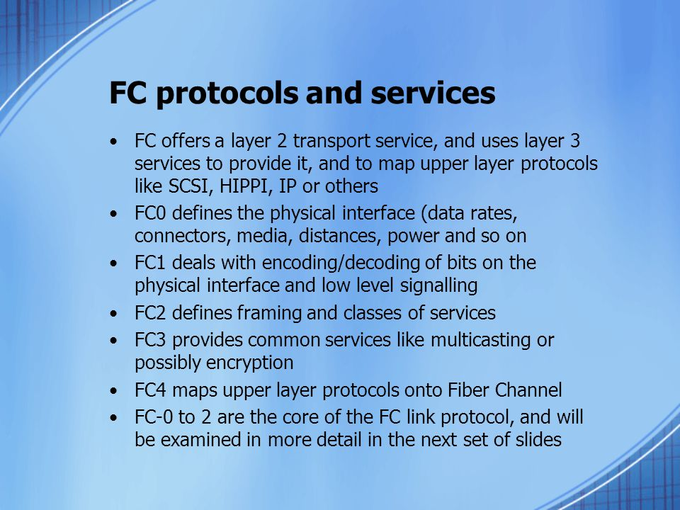 FC protocols and services