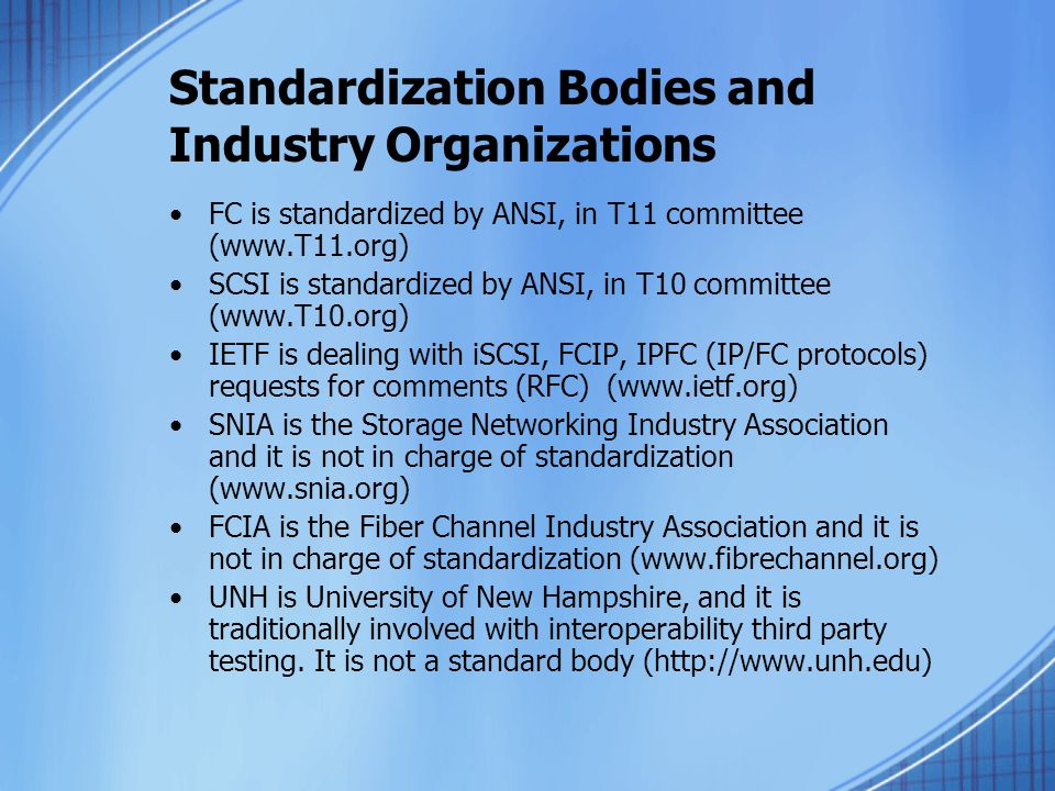 Standardization Bodies and Industry Organizations