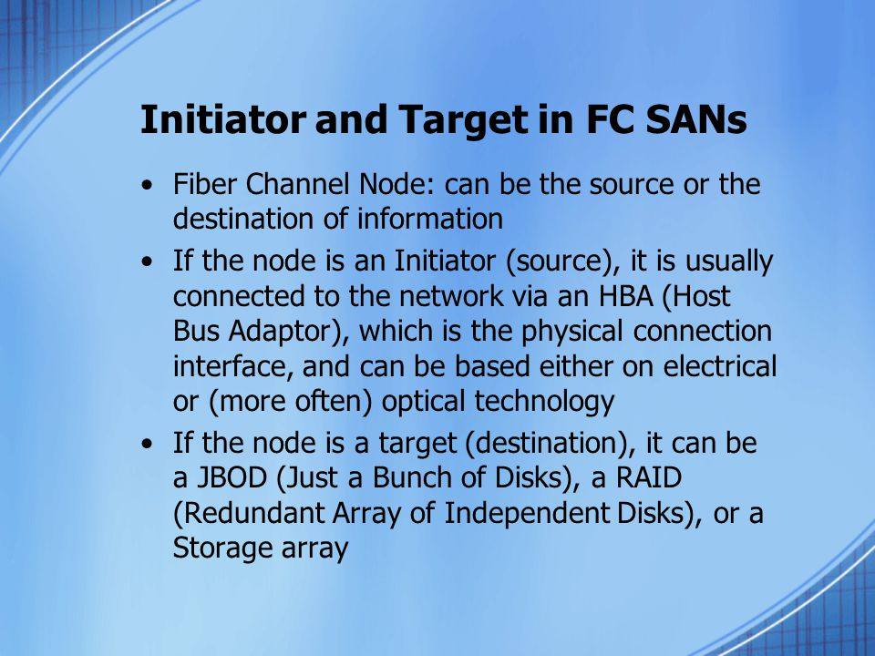Initiator and Target in FC SANs