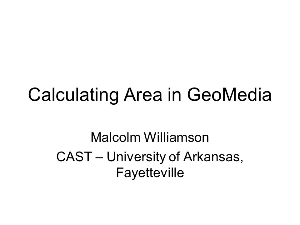 Calculating Area in GeoMedia