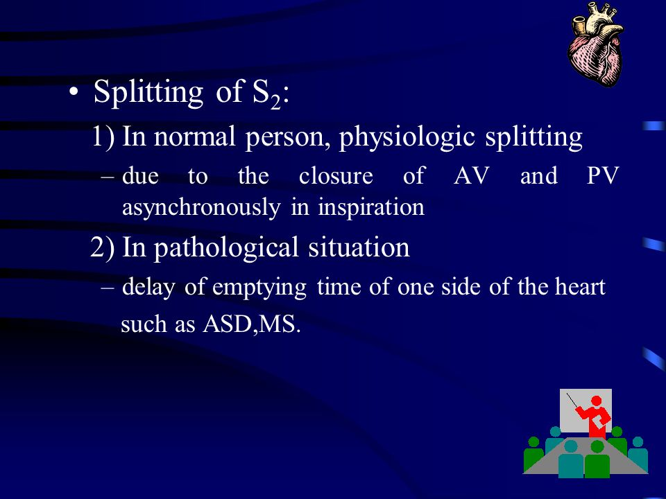 Splitting of S2: 1) In normal person, physiologic splitting