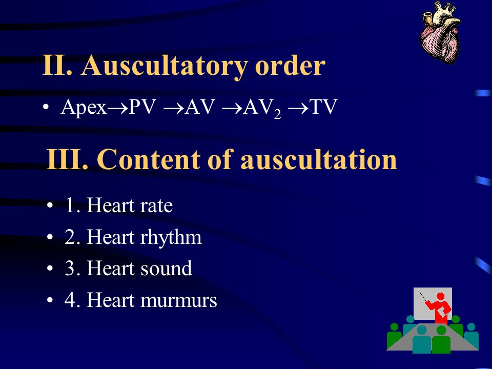 III. Content of auscultation