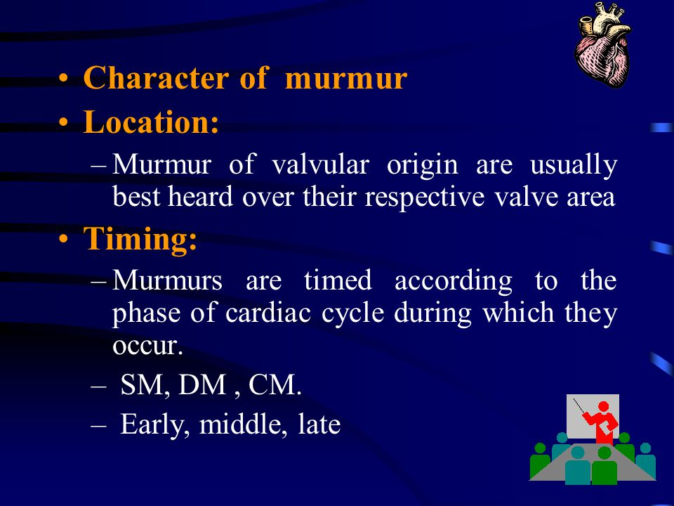 Character of murmur Location: Timing:
