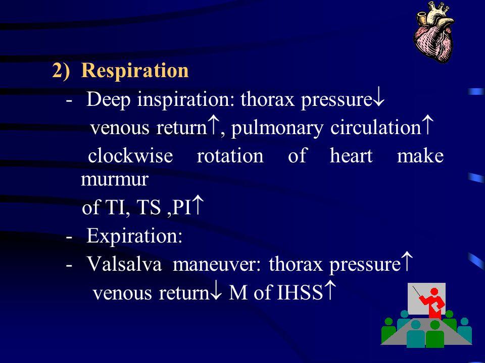 2) Respiration Deep inspiration: thorax pressure venous return, pulmonary circulation clockwise rotation of heart make murmur.