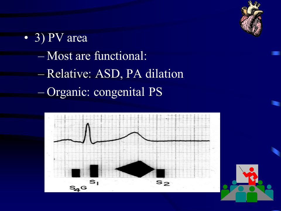 3) PV area Most are functional: Relative: ASD, PA dilation Organic: congenital PS