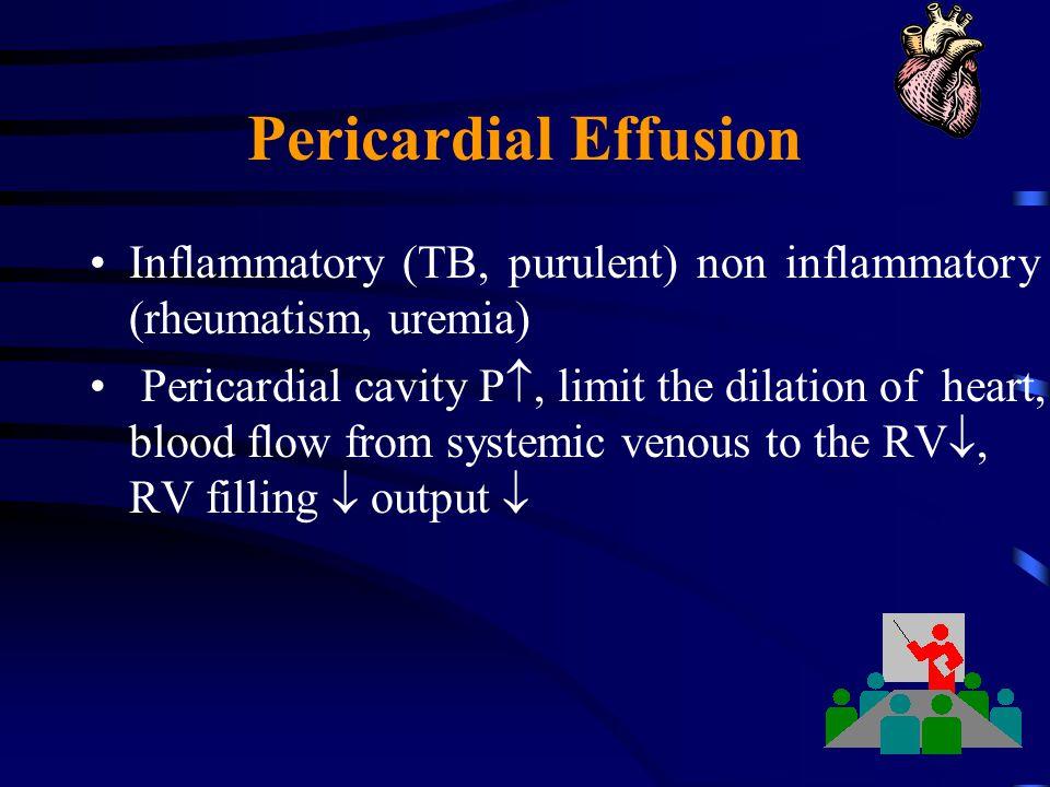 Pericardial Effusion Inflammatory (TB, purulent) non inflammatory (rheumatism, uremia)