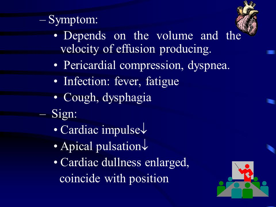Symptom: Depends on the volume and the velocity of effusion producing. Pericardial compression, dyspnea.