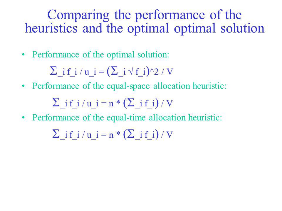 Comparing the performance of the heuristics and the optimal optimal solution