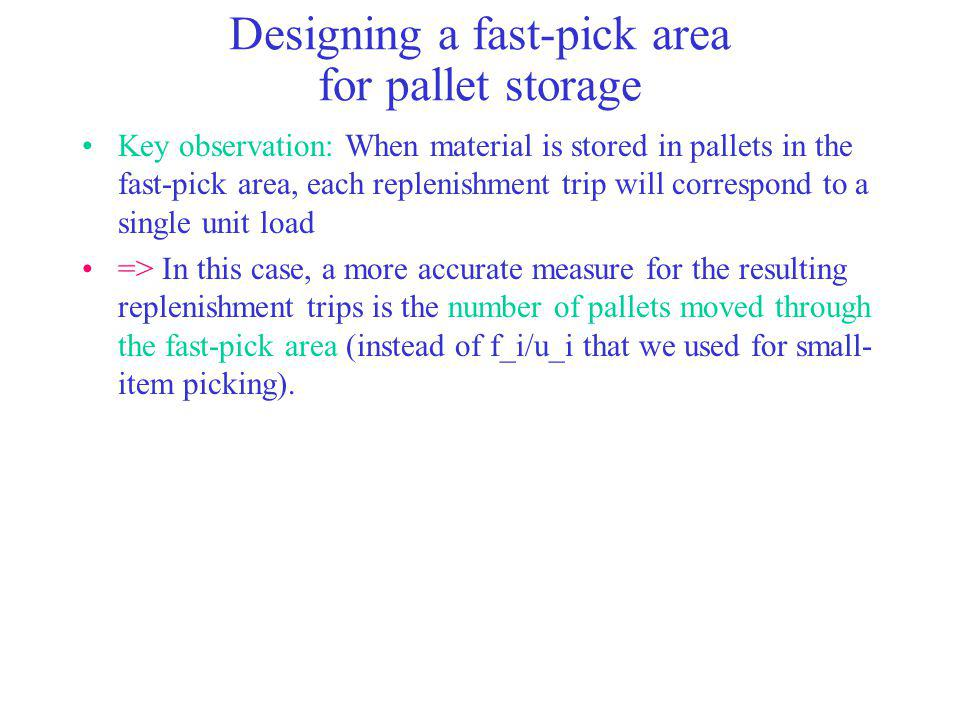 Designing a fast-pick area for pallet storage