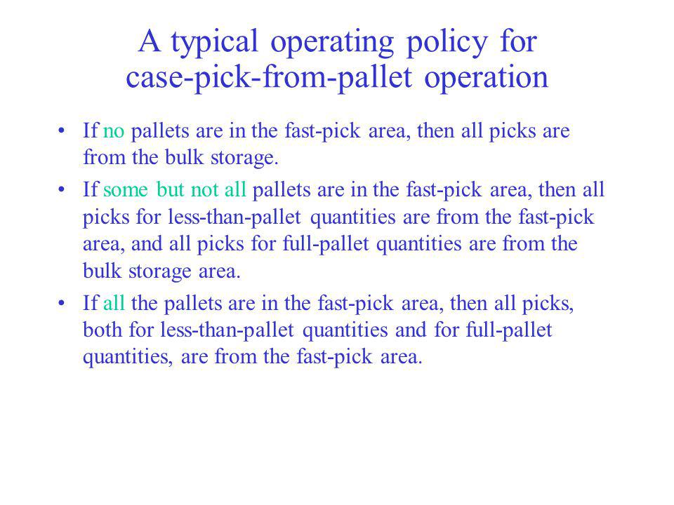 A typical operating policy for case-pick-from-pallet operation