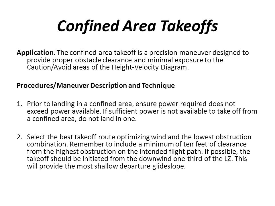 Confined Area Takeoffs
