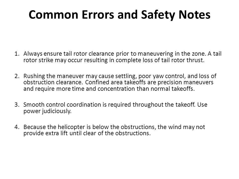 Common Errors and Safety Notes