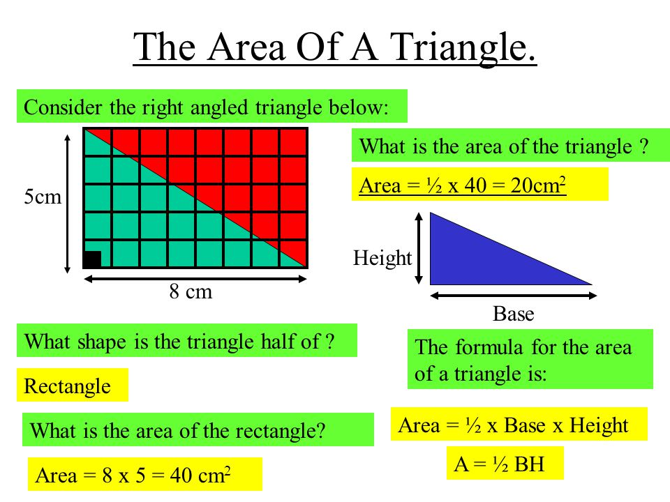 The Area Of A Triangle. Consider the right angled triangle below: