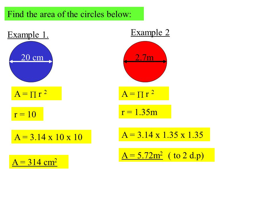 Find the area of the circles below: