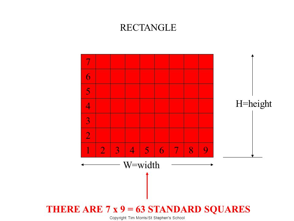 THERE ARE 7 x 9 = 63 STANDARD SQUARES