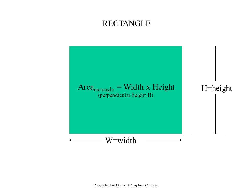 Arearectangle = Width x Height