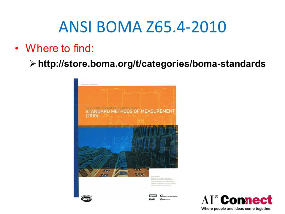 ANSI BOMA Z65.4-2010 Where to find: