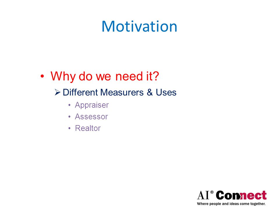 Motivation Why do we need it Different Measurers & Uses Appraiser