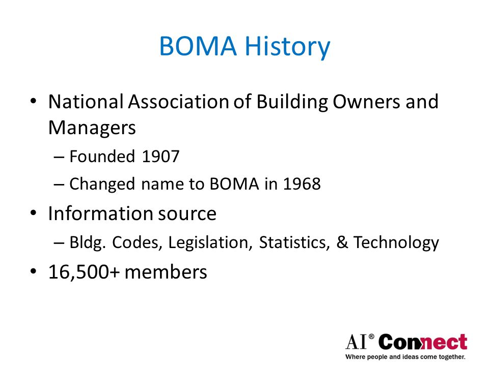 BOMA History National Association of Building Owners and Managers