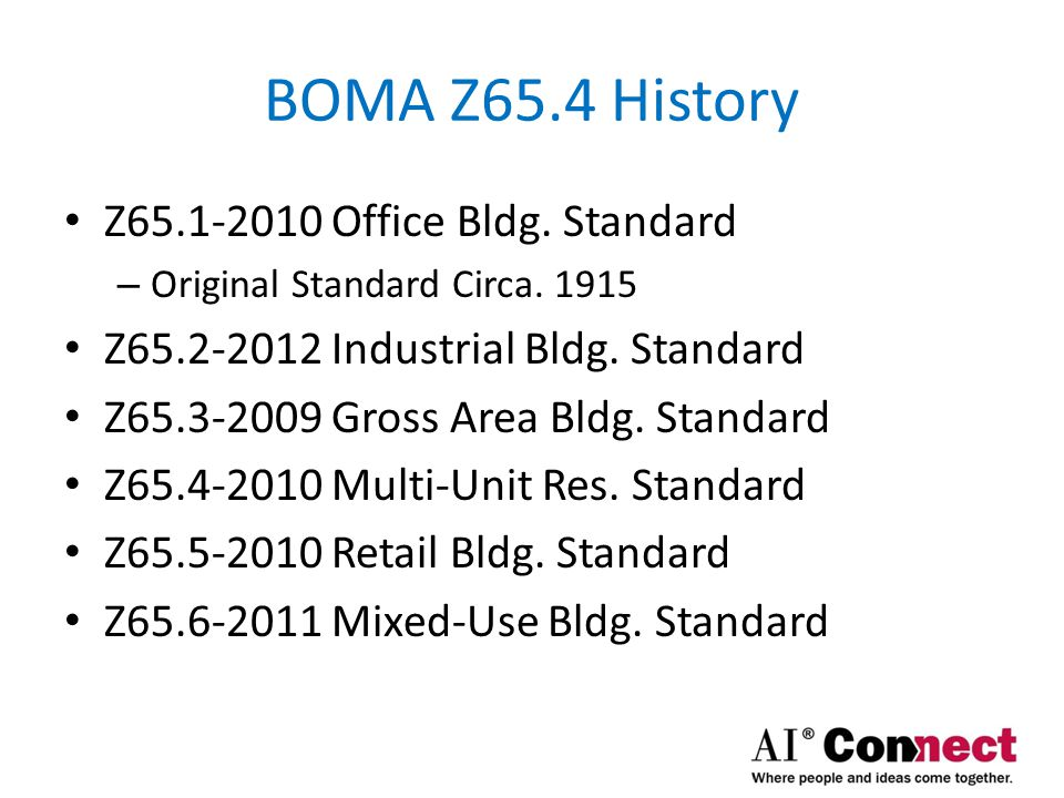 BOMA Z65.4 History Z65.1-2010 Office Bldg. Standard