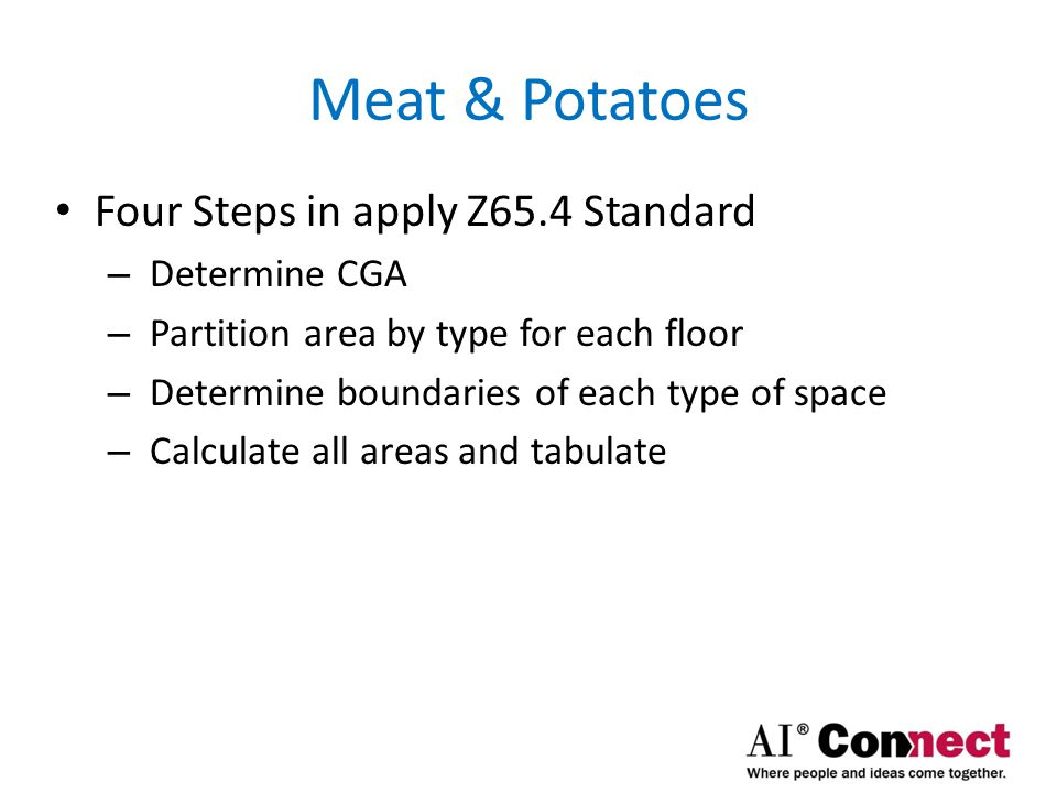 Meat & Potatoes Four Steps in apply Z65.4 Standard Determine CGA