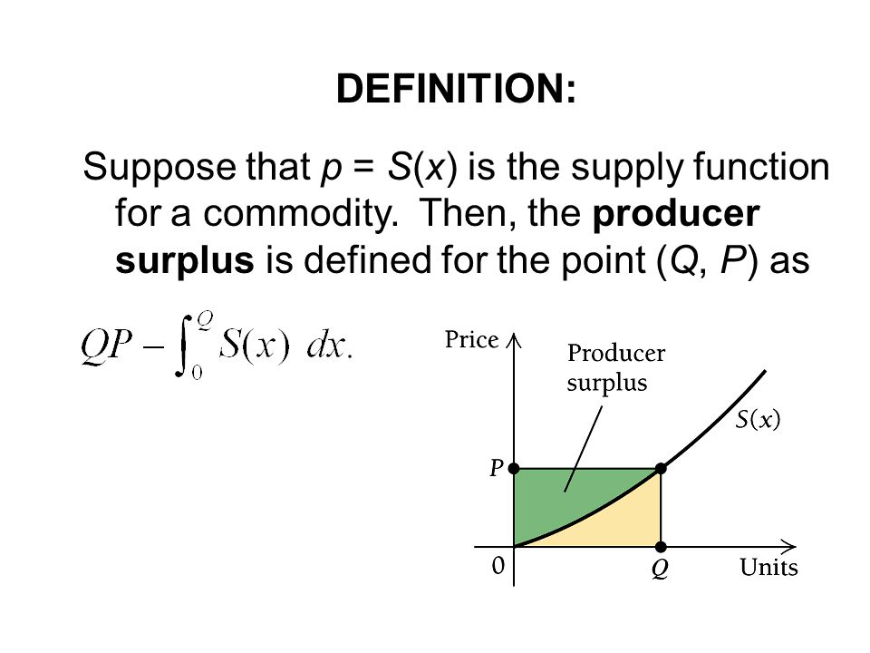 DEFINITION: Suppose that p = S(x) is the supply function for a commodity.