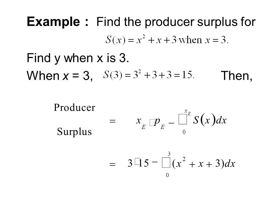 ò ( ) Example : Find the producer surplus for Find y when x is 3.