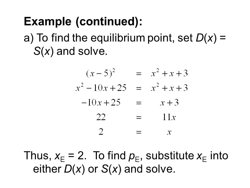 Example (continued): a) To find the equilibrium point, set D(x) = S(x) and solve.