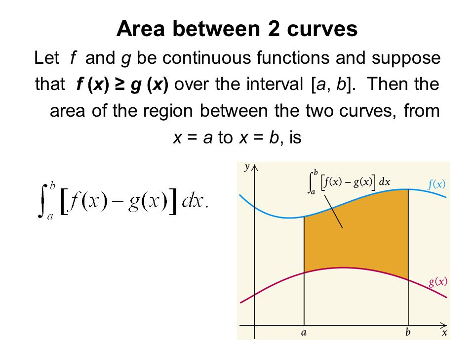 Area between 2 curves Let f and g be continuous functions and suppose