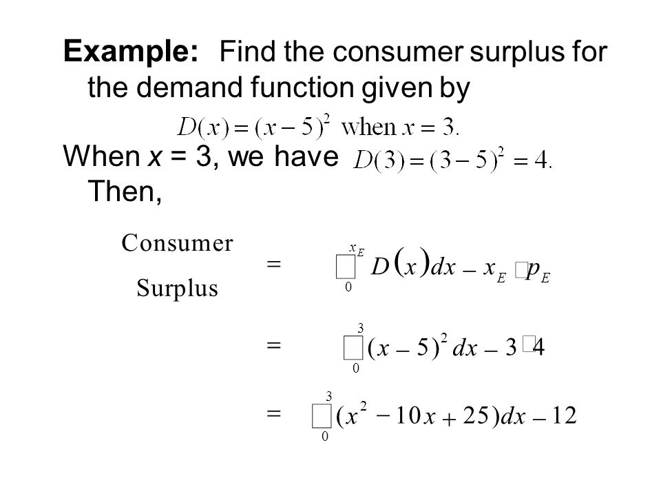 Example: Find the consumer surplus for the demand function given by