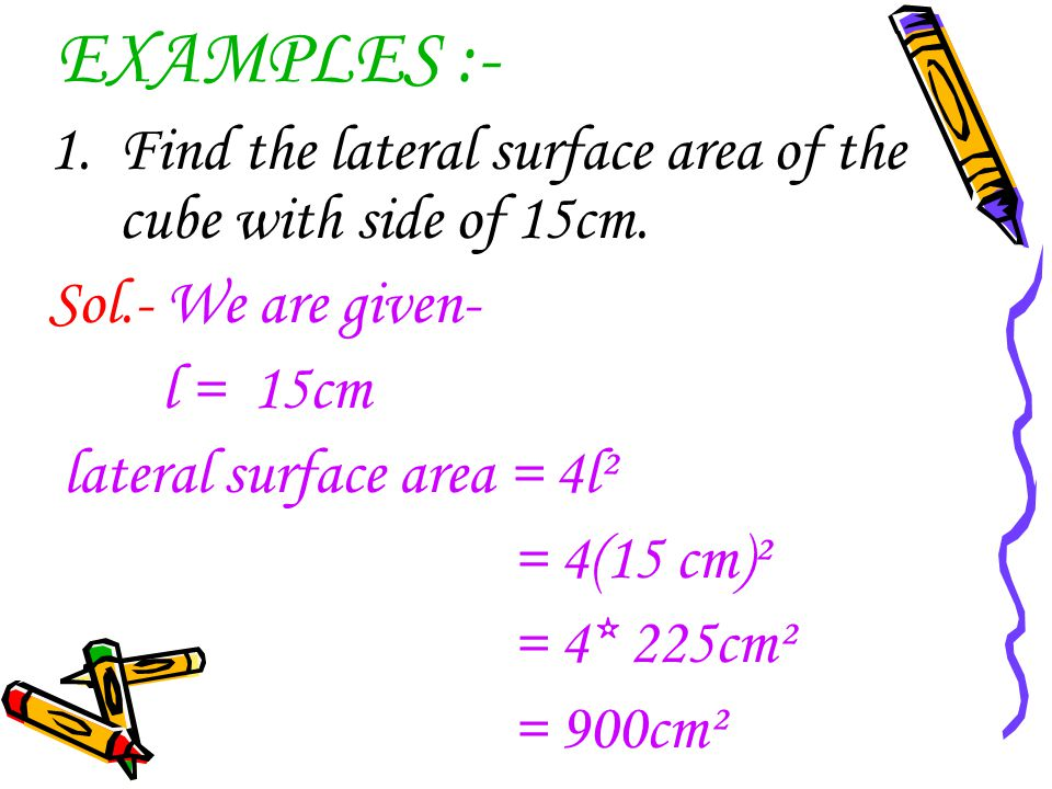 EXAMPLES :- Find the lateral surface area of the cube with side of 15cm. Sol.- We are given- l = 15cm.