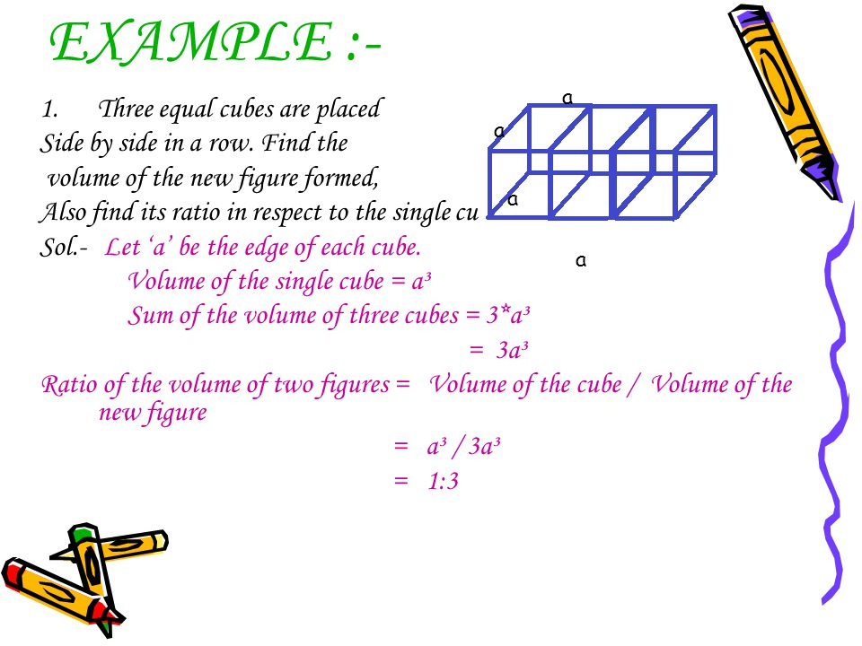 EXAMPLE :- Three equal cubes are placed