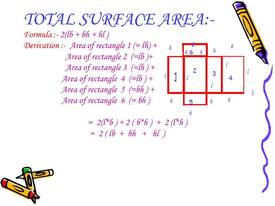 TOTAL SURFACE AREA:- Formula :- 2(lb + bh + hl )
