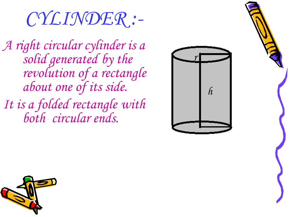 CYLINDER :- A right circular cylinder is a solid generated by the revolution of a rectangle about one of its side.