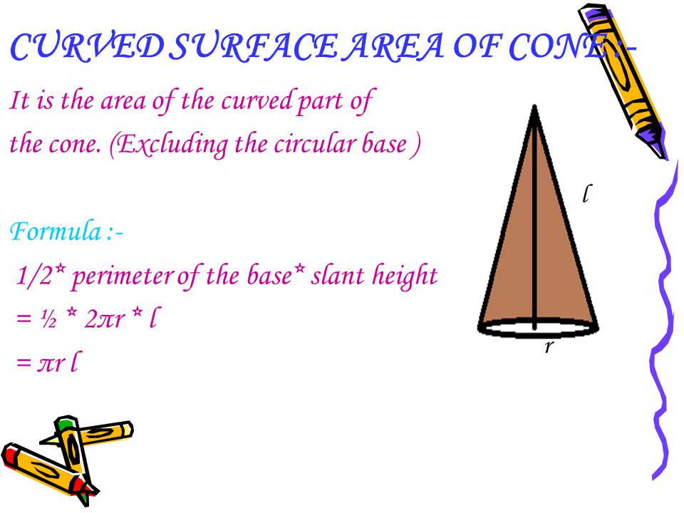 CURVED SURFACE AREA OF CONE :-