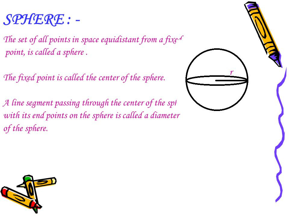 SPHERE : - The set of all points in space equidistant from a fixed