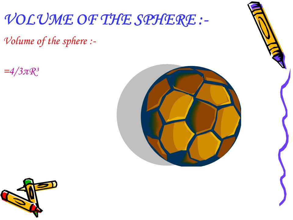 VOLUME OF THE SPHERE :- Volume of the sphere :- =4/3πR³