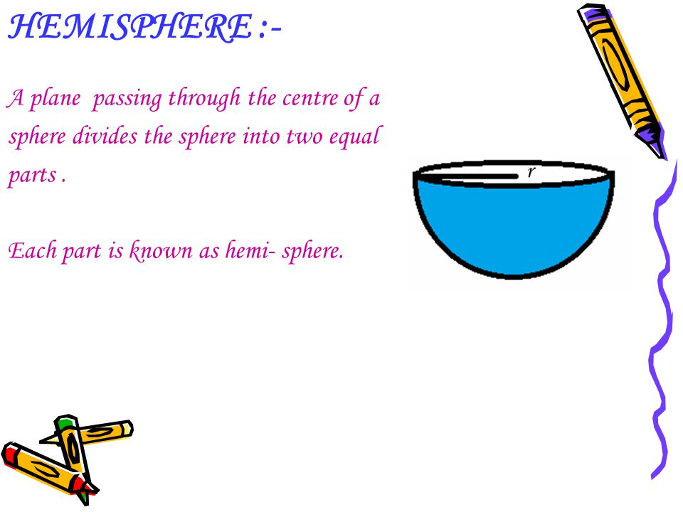 HEMISPHERE :- A plane passing through the centre of a