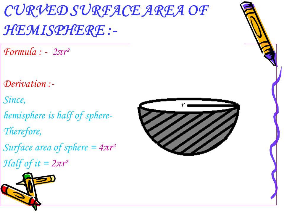 CURVED SURFACE AREA OF HEMISPHERE :-