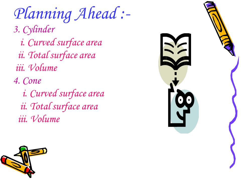 Planning Ahead :- 3. Cylinder i. Curved surface area